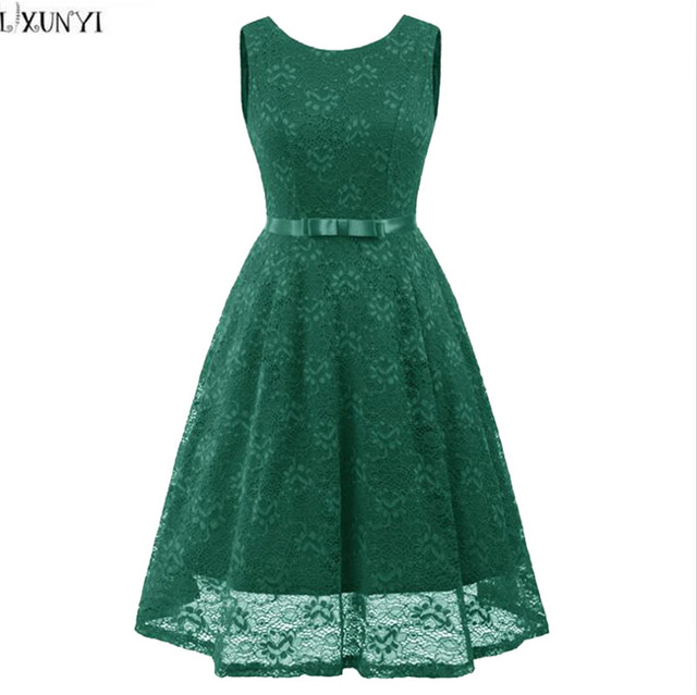c09373f982d7 LXUNYI Womens Summer Lace Dress O-Neck Slim Ladies Sleeveless Dresses Green  Beige Red Blue Lace Dresses 2018 High Quality