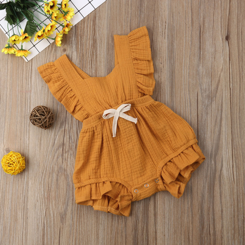 HTB10h1XatjvK1RjSspiq6AEqXXaL 6 Color Cute Baby Girl Ruffle Solid Color Romper  Jumpsuit Outfits Sunsuit for Newborn Infant Children Clothes Kid Clothing