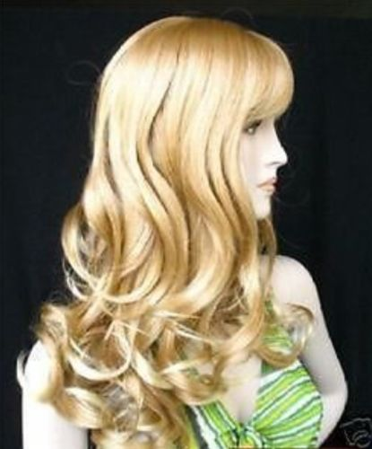 все цены на Fashion long wavy mix blonde like human hair full wig