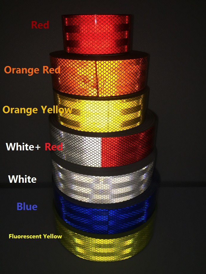 PET Reflective Self-adhesive Tape Truck Car Motorcycle Road Traffic Warning Safety Sticker Furniture District Warning Sign