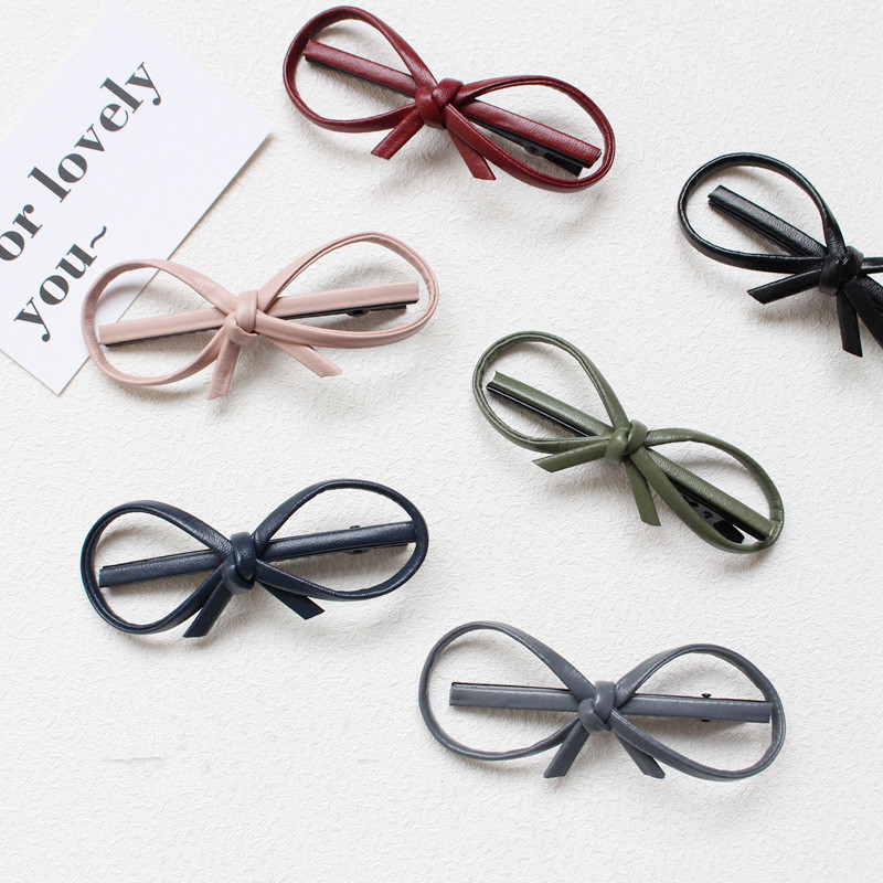 New Lovely Bowknot Female Barrettes Leather Hairpin Cute Hair Clips Headband For Women Girls   Headwear   Hair Accessories