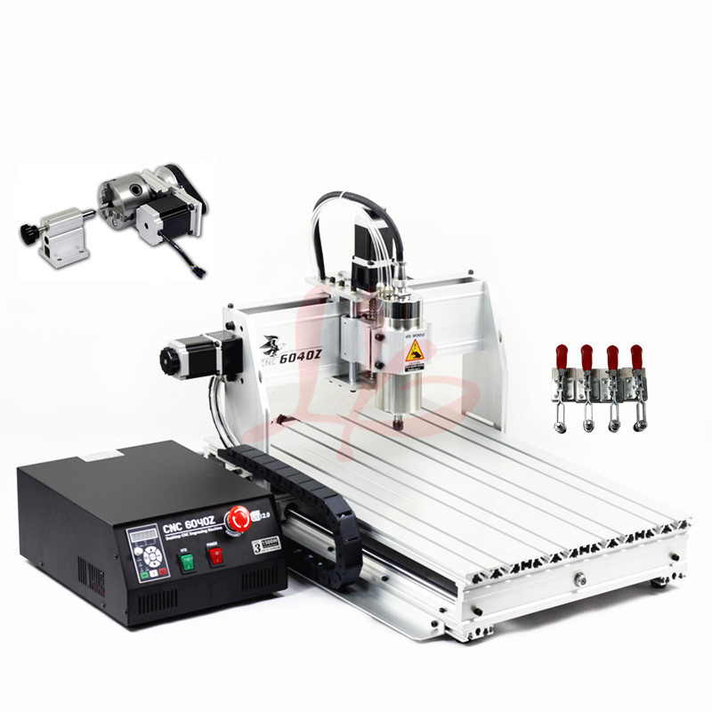 4 Axis USB CNC Engraving Machine 6040Z-USB Mach3 manual with 1500W VFD spindle and auto-checking tool 2017 hot sale model 5 axis cnc engraving