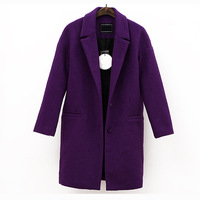 Women casual purple woolen coat outerwear