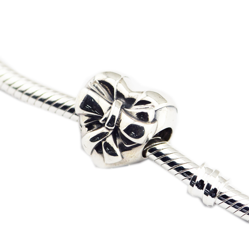 Pandulaso Beads For Jewelry Making Brilliant Heart Bow Charm Fit Europeam Bracelets Woman DIY Sterling Silver Jewelry Beads