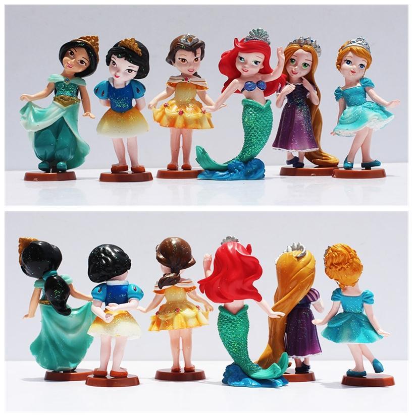 6pcs/<font><b>set</b></font> <font><b>Princess</b></font> Dolls <font><b>Cinderella</b></font> <font><b>Snow</b></font> <font><b>White</b></font> <font><b>Rapunzel</b></font> Jasmine Think bell Bella Ariel <font><b>PVC</b></font> Figure Model Toys Gift Free Shipping