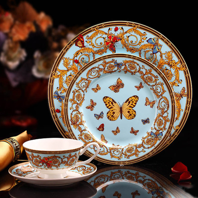 Bone Porcelain Tableware Chinese Luxury England Bone China Dinnerware Set Beautiful Dinner Plates Set With Tea Cups Coffee Mugs
