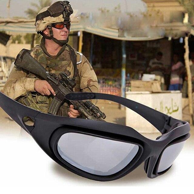 fc868087c61 2018 Army Glasses Desert Storm 4 Lens Outdoor Sports Military Hunting  Sunglasses Anti UVA UVB War