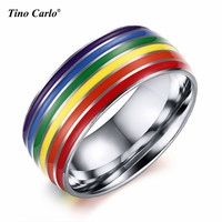 8mm Titanium Stainless Steel Rainbow Enamel Gay Lesbian Wedding Engagement Promise Band LGBT Pride Ring SIZE 7~12 PR-1020