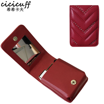 Lipstick Case Mini with Mirror Small Make-up Bag Marmont Brand Women Genuine Leather Mouth Red Jewelry Wallet Fashion Portable