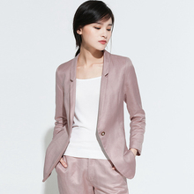 Blazers Women Suit 54% Linen Fabric Single Button Long Sleev