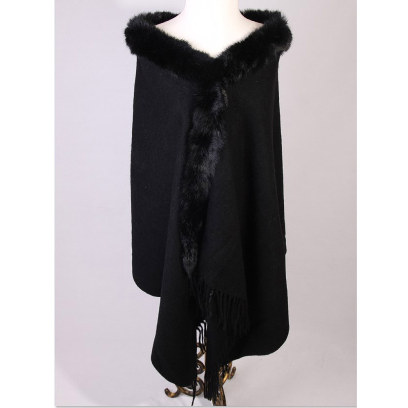 Hiver noir chinois femmes 100% laine Pashmina épais chaud longue étole châles écharpes lapin fourrure cap Tippet 180x70 cm 011609