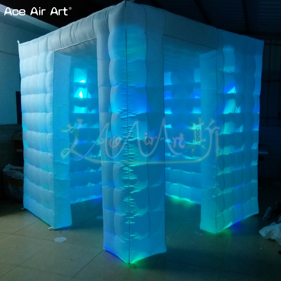 2.4m Led Cabinet Photo Booth Inflatable Photo Selfi Station,cubic Photo Backdrop With 2 Doors And Free Logo