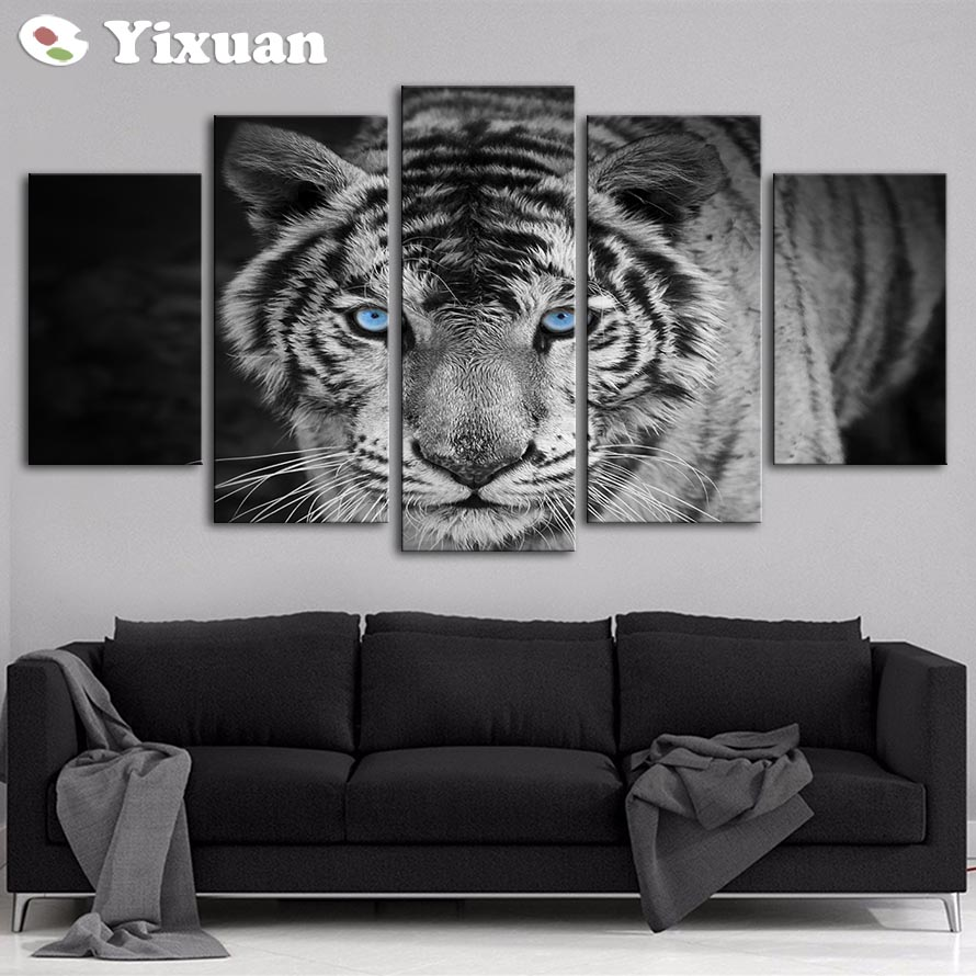 5 Panels Blue Eyes White Tiger Modern Wall Art For Decor Home Decoration Picture Paint On Canvas Prints Painting Framed In Calligraphy