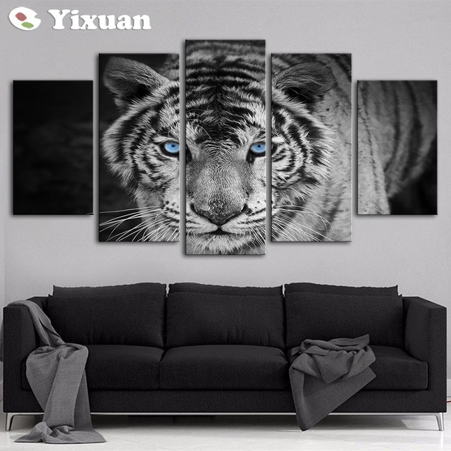 5 Panels Blue Eyes White Tiger Modern Wall Art For Decor Home Decoration Picture Paint On Canvas Prints Painting Framed