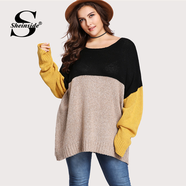 b12a40a62af Sheinside Plus Size Cut And Sew Oversized Sweater Women Long Sleeve Jumper  2018 Autumn Longline Pullover Womens Knitted Sweaters