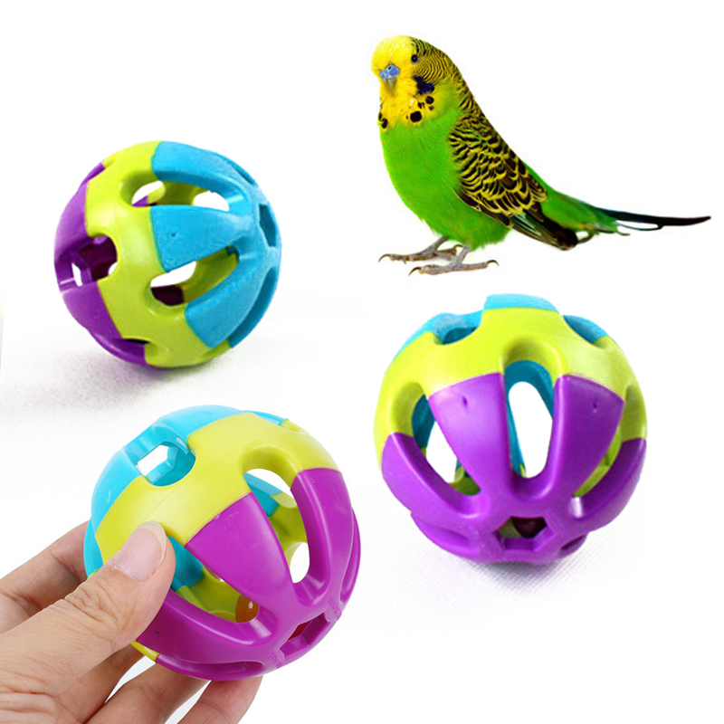 7cm ABS Biting Toy Ball With Bell Chewing Toy Parrot font b Pet b font Supply