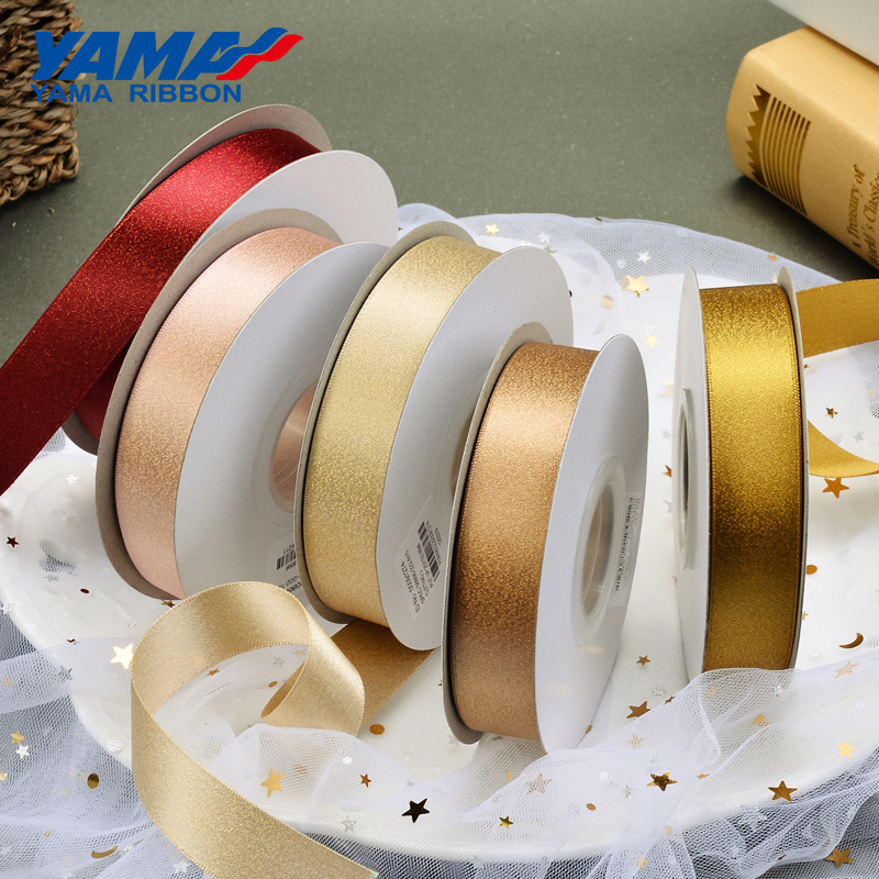 YAMA Gold Purl Satin Ribbon 6 9 13 16 mm 1 4 3 8 1 2 5 8 inch 100Yards roll for Party Wedding Handmade Rose Flowers Crafts Gifts in Ribbons from Home Garden
