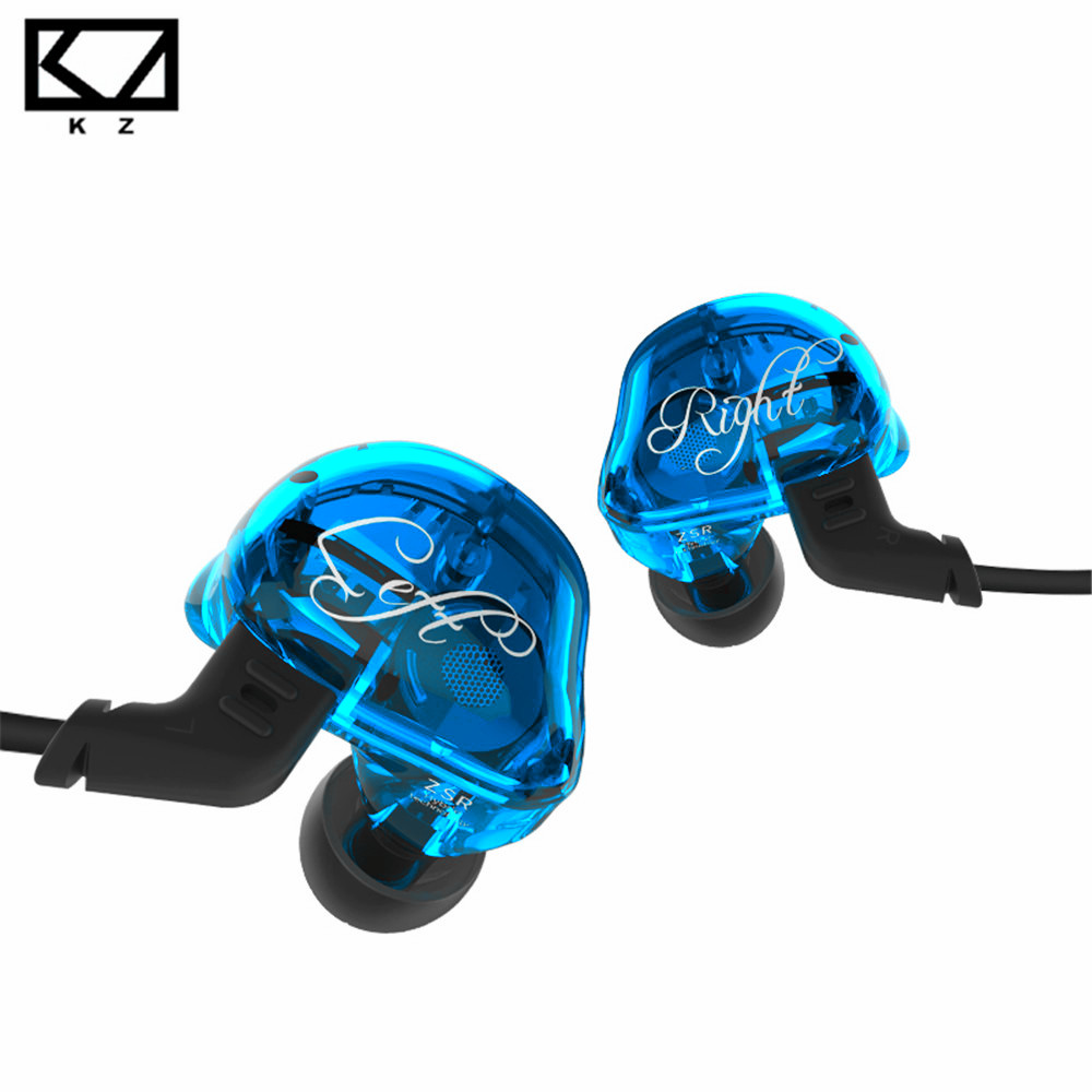 New KZ ZSR Dynamic + 2BA Hybrid Drive In Ear Earphone HIFI Headset With 2PIN Replacement Cable Noise Cancelling Sport Earphone 2017 new xduoo ep1 high fidelity dynamic driver 3 5mm in ear earphone sport headset noise cancelling headphone hifi subwoofer