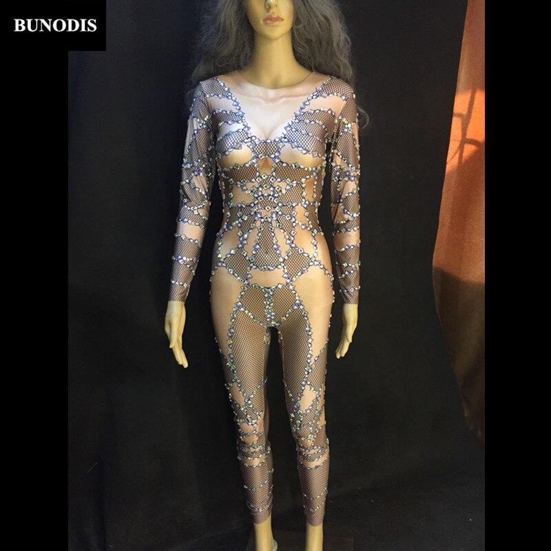 Danseur Chanteur Costume Performance Bu123 Femmes Salopette Outfit Nude D'étape Body Partie Discothèque Sexy Mousseux Cristaux Usage 7nFPOT