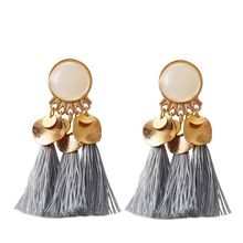 8pair New Ethnic Bohemia Women Dangle Drop Earrings Summer Round Resin Tassel for Fashion Jewelry R-13