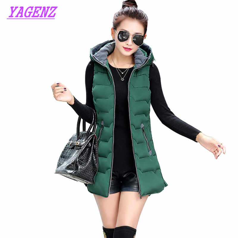 Mùa đông ấm áp phụ nữ Dài Xuống bông Vest Áo Khoác Hàn Quốc phiên bản Sống hat Bông áo ghi lê New Cộng Với kích thước Vest coat Vàng 5XL B173