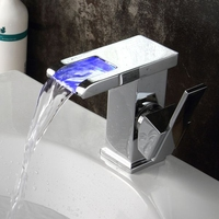 Xogolo Wholesale And Rretail Discolor LED Faucet For Bathroom Single Handle Deck Mounted Siink Tap Waterfall