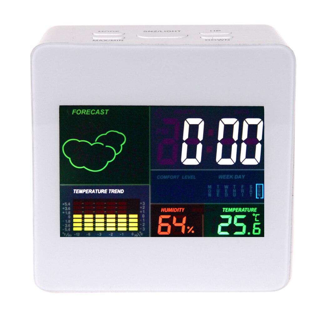 Digital Black Alarm Clock Color Display Bedside Table Desk Digital Weather Forecast Station w/ Alarm Clock