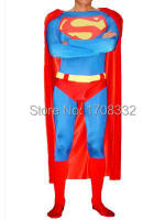 Classic Superman Costume Red Lycra Spandex Superman Costume con cape halloween costume Cosplay