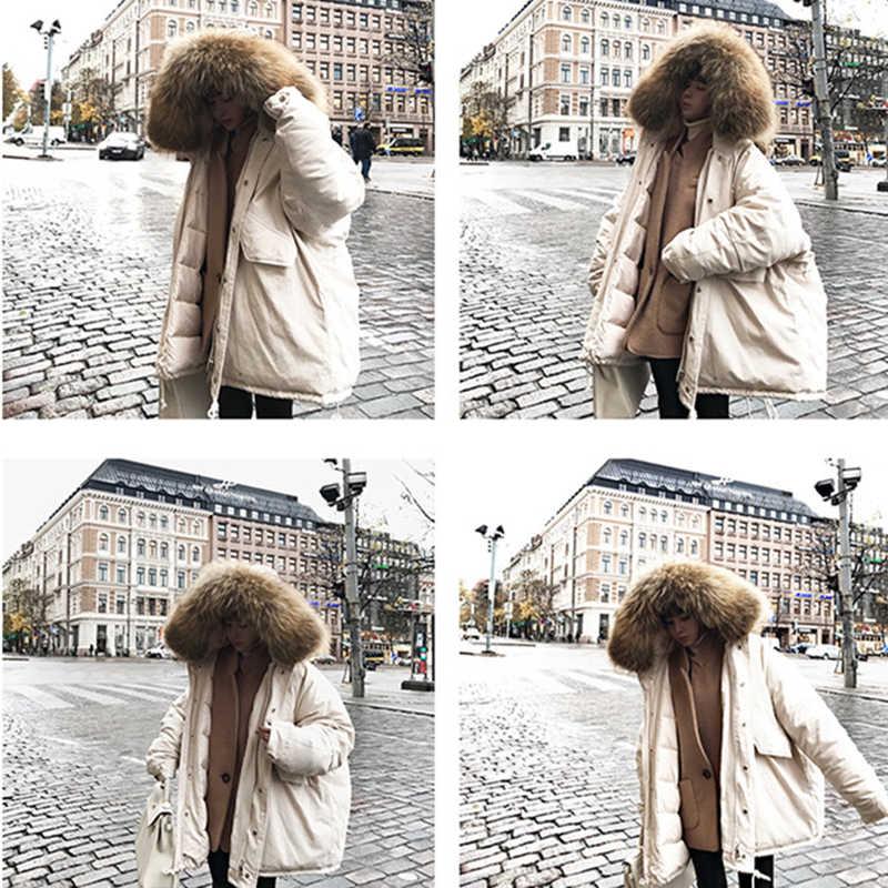 2019 חורף נשים סלעית מעיל פרווה צווארון לעבות חם ארוך מעיל נשים של מעיל בנות ארוך Slim גדול פרווה מעיל מעיל כותנה Parka