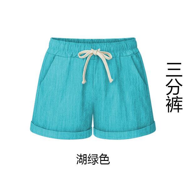 Women shorts Summer Fashion Cotton Linen Wide leg short Slim  Loose Casual High Waist Shorts Beach Female Shorts 6XL