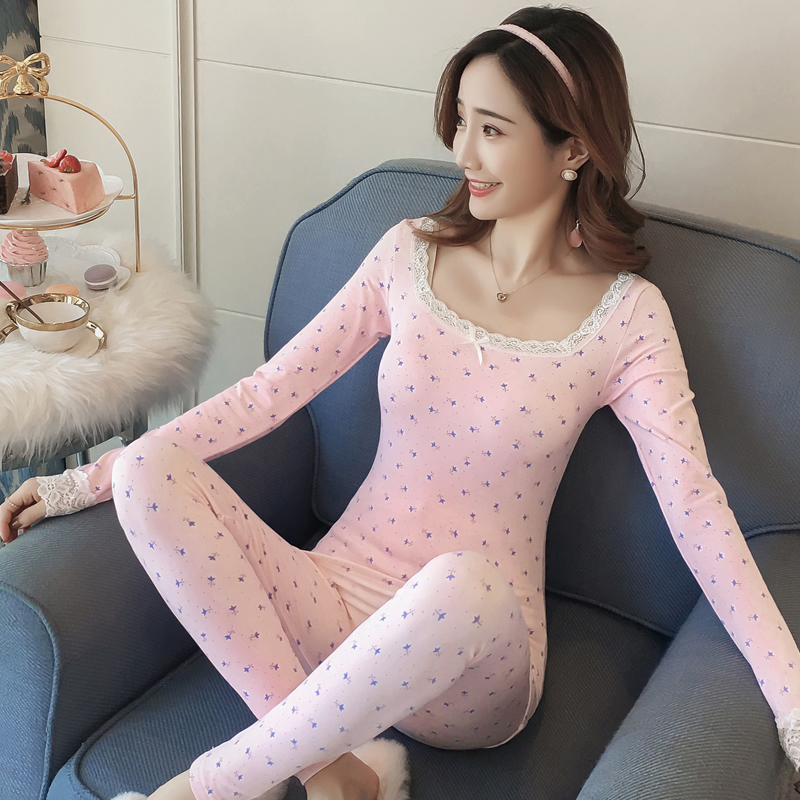 2019 New Autumn Winter Thermal Lace Sexy Underwear Sets For Women Long Sleeve Print Sleepwear Suit Thick Warm Body Shaper Pajama