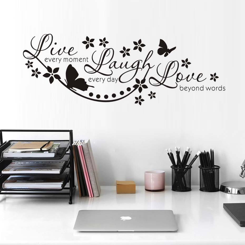 Live Laugh Love Wall Art Stickers Butterfly Star Quote Adesivo De