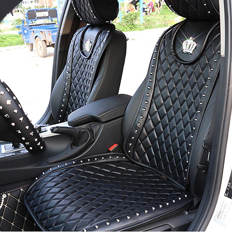 Leather Car Seat Cover Diamond Crown Rivets Auto Seat Cushion Interior Accessories Universal Size Front Seats