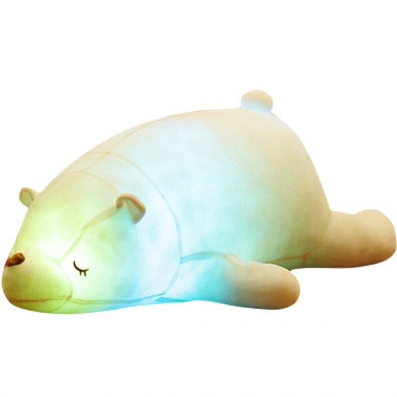 110 cm coloré Flash LED en peluche gros ours polaire émettant de la lumière enfants poupée doux Animal en peluche oreiller cadeau mignon pour les enfants