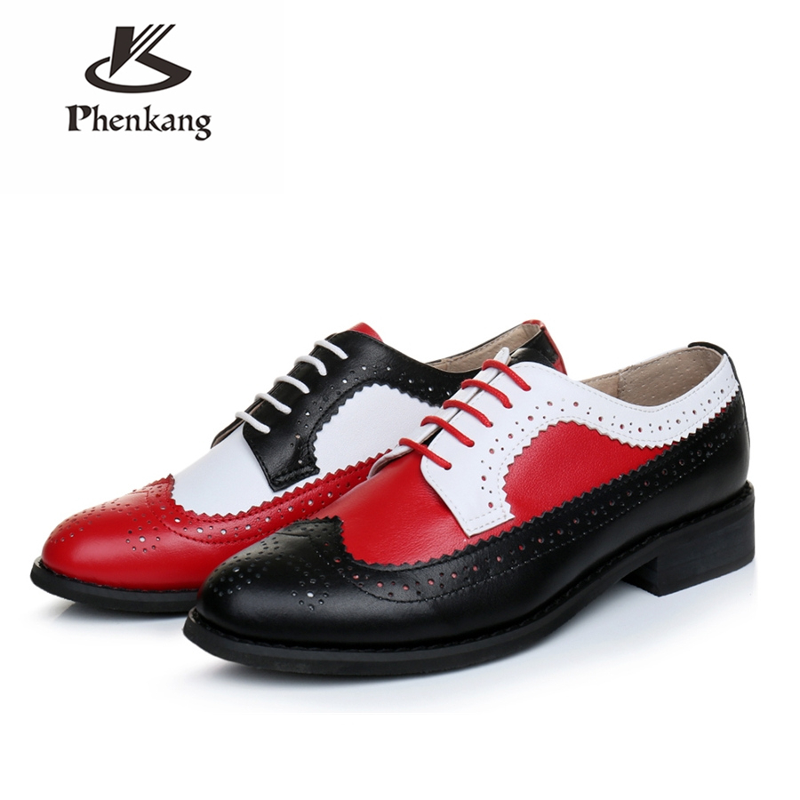 Genuine Cow Leather Brogue Men Casual Flats Shoes Handmade Vintage Casual Sneakers Shoes Oxford Shoes For Men Red Black White