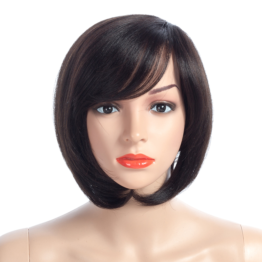 NAYOO Bob Wigs 150 Density Non Lace Human Hair Wigs For Women Brazilian Straight Wig Natural Black Remy Hair