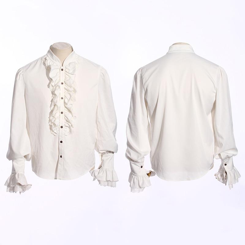 Steampunk Ruffles Tuxedo Shirt Classic Long Sleeve Cotton Shirt Gothic Men Lace Cuff White Shirts