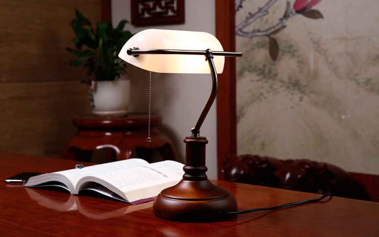 Lamp Slaapkamer Nachtkastje : Bankers bureaulamp vintage glas cover tafellamp creatieve