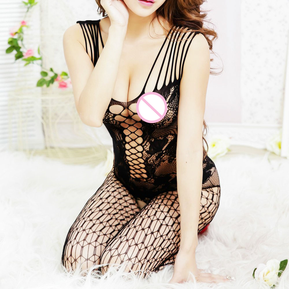 Buy Sexy Fishnet Sheer Body Dress Tights Lingerie Women Crotchless Stockings  Nightwear Lace Girls Stocking