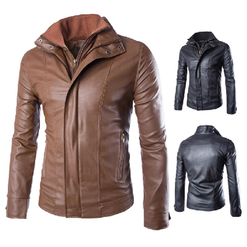 ec448ebd3ab Men Slim Motorcycle Leather Jacket 2016 New Fashion Mens Solid Washed PU  Leather Coat Jackets 2 Colors Jaqueta De Couro 13M0404