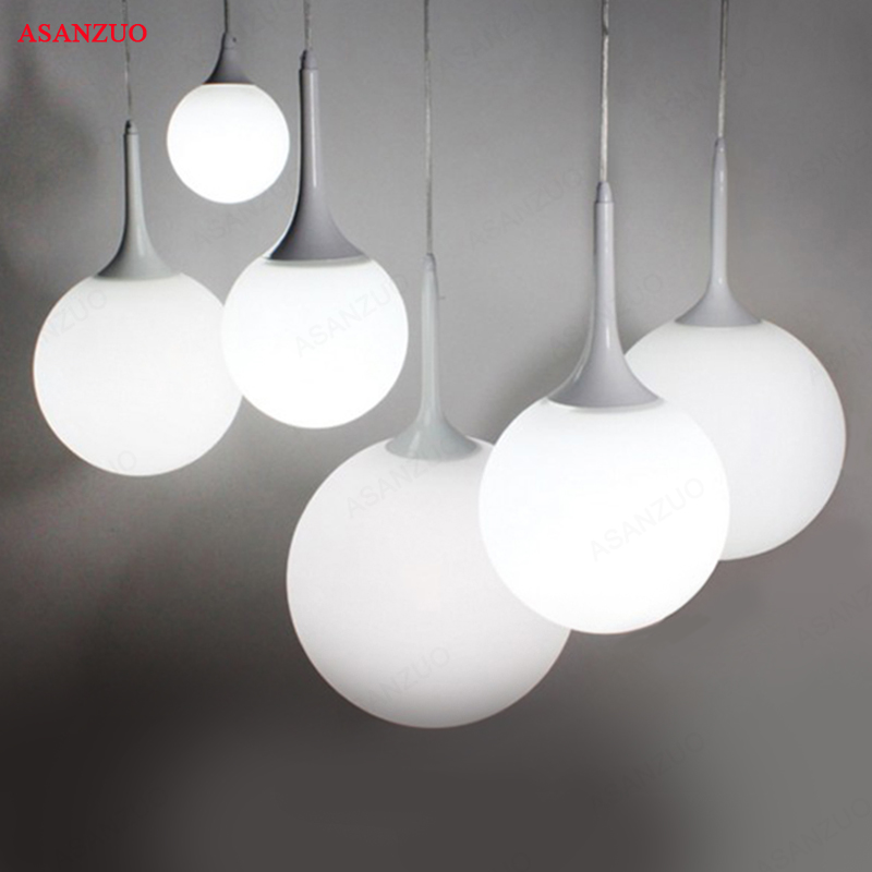 Modern Simple Milk Ball Glass Shade Pendant Lights For Dining Room Bar Restaurant Decorative Hanging Pendant Lamp Fixtures modern minimalist art deco pendant lights ball glass shade globe led hanging lamp for living room bar home light fixtures gold