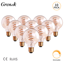 цены Grensk Vintage Filament Led Lamp Dimmable Spiral Globe Bulb 3w Gold Tinted Glass G95 E27 LED Light Bulb 2200K Bombilla Lamparas