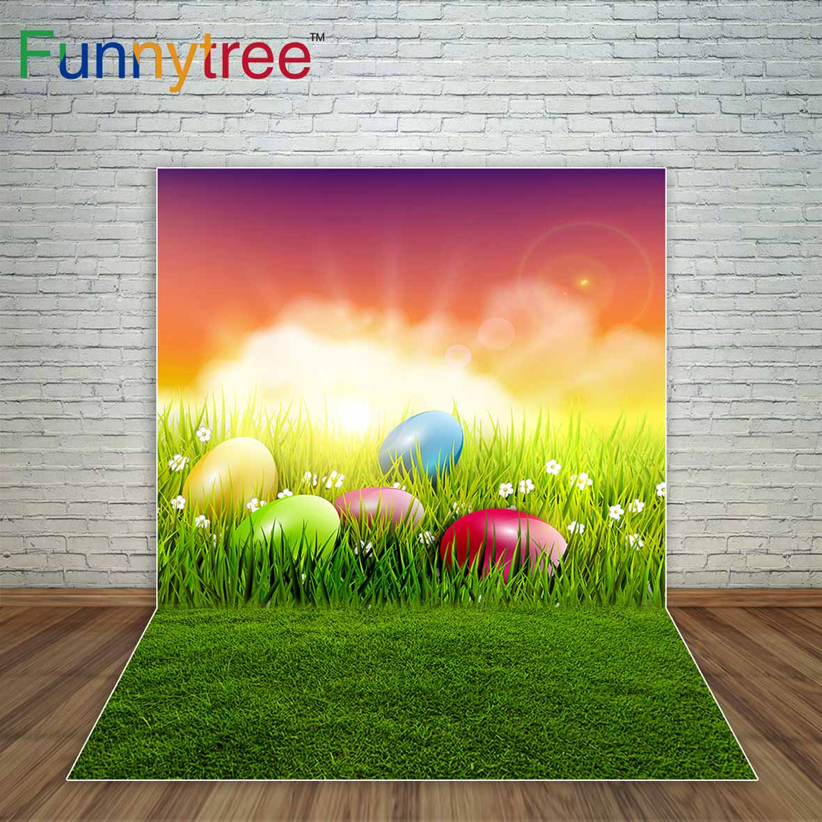 Easter Meadow Flowers Sunrise Spring Background Eggs Green Grassland Kid Photography photography backdrops a photo new arrival background fundo meadow flowers gift 300cm 200cm about 10ft 6 5ft width backgrounds lk 3858