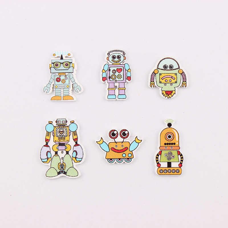 """2 otwory mieszane drewniane, proszę kliknąć na przycisk """" multi roboty wzór rękodzieło Scrapbook przyciski Mix 50 sztuk odzieży Botoes akcesoria"""