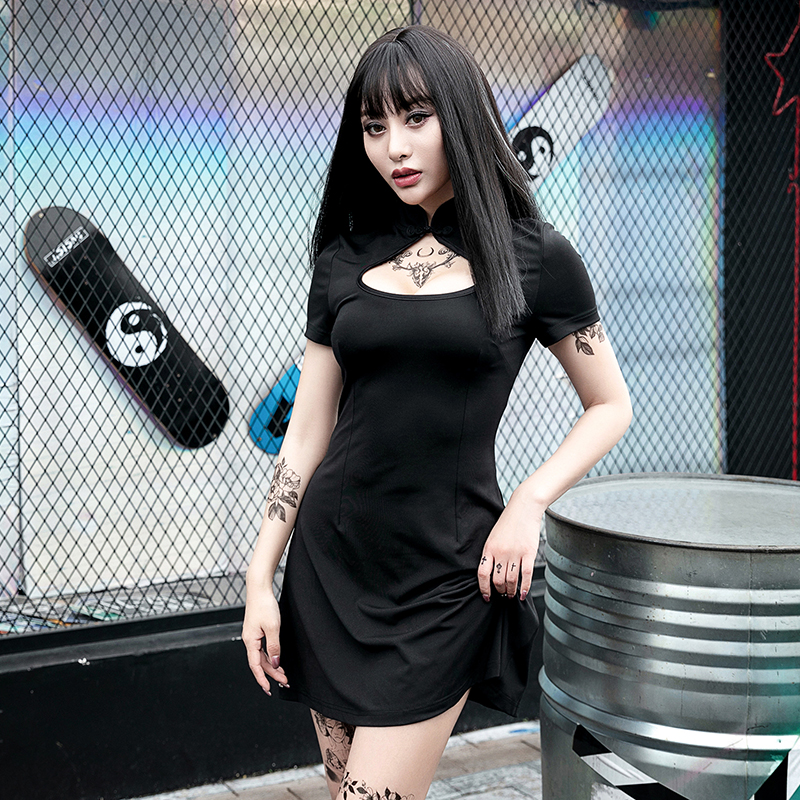 Summer Retro Stand <font><b>Black</b></font> Women <font><b>Dress</b></font> <font><b>Sexy</b></font> <font><b>Slim</b></font> Thin Hollow Out Short Sleeve Bodycon <font><b>Dresses</b></font> Gothic <font><b>Dress</b></font> Casual Mini Lady <font><b>Dress</b></font> image