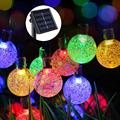 Solar String Lights 20ft 30 LED Crystal Ball Waterproof Outdoor Light Solar Powered Lamp for Garden Party Christmas Decoration