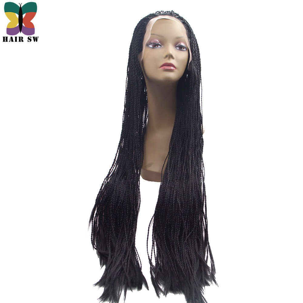 "HAIR SW Long Straight Fully hand braided Lace Front wigs Senegalese Rope 2x twist Synthetic Handmade Wig For Black Women 20""/30"""