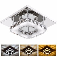 12W Modern LED Crystal Light Square Surface Mounted Lamp Crystal Ceiling Light Fixture For Hallway Corridor