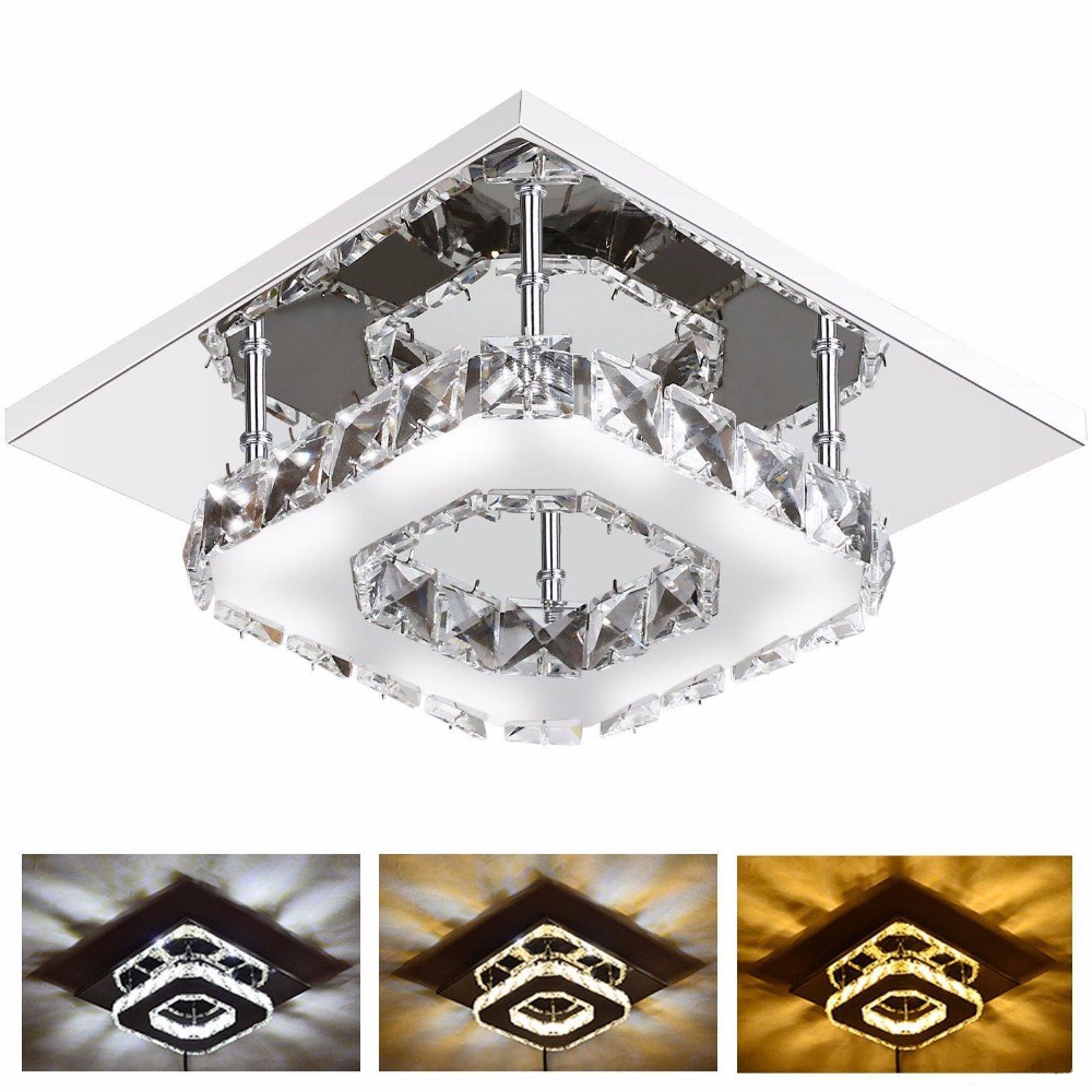 12W Modern LED Crystal Light Square Surface Mounted Lamp Crystal Ceiling Light Fixture for Hallway Corridor Asile Light 85-265V modern led crystal ceiling light hallway aisle fixture e14 lamp 90 220v