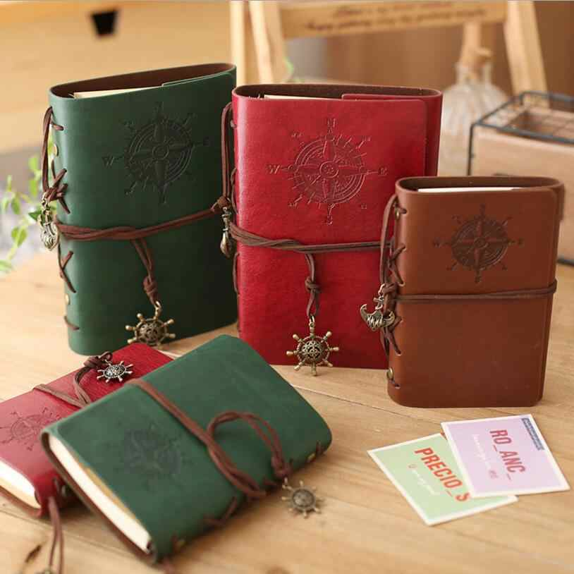 """5"" ""7"" ""8.5"" Inch PU Leather Loose-leaf Notebook Travel Notepad 80 Sheets Khaki Paper Birthday Pirate Sailor Pirate Book Diary"